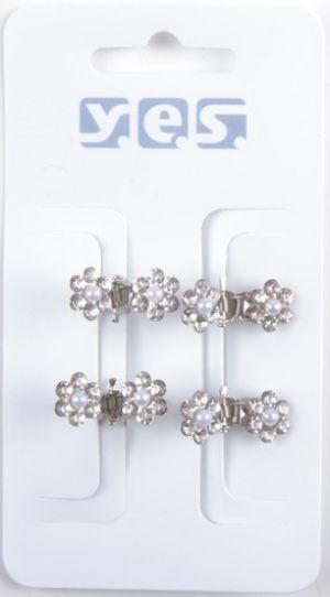 Hårklämma Silver Crystal Flower 4-pack
